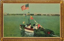 """""""On the Bay""""~Victorian Ladies in Decorated Boat~US Flag~Pennants~Palms~AMP Co"""