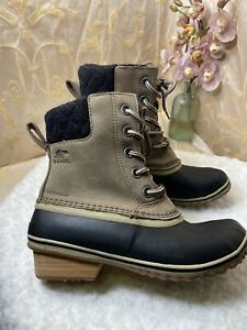 New Womens Sorel Boots Size 8M Winter Slimpack Lace II Waterproof Khaki Black