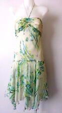 CUE Size 4 - 6 US 0 - 2 Halter Neck Asymmetrical Hem Silk Dress