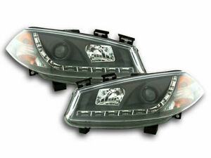 BLACK PROJECTOR DRL HEADLIGHTS HEADLAMPS RENAULT MEGANE 2 2003-2006 DAY RUNNING