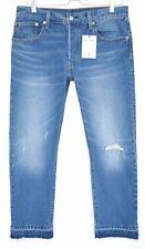Ladies Levis 501 Slim Leg Blue RAW HEM Ripped Frayed CROP Jeans Size 12 W30 L32