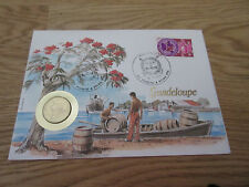 GUADELOUPE Stamp & Coin 20 cents FDC First Day Cover 1985 Munz Briefe