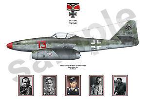 aviation art A3+ 13 x 19 Luftwaffe pilot Heinz Bar JG 1 77 color photo print