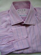 THOMAS PINK (Superfine 170's) SMART ELEGANT PINK STRIPED WORK SHIRT UK 15.5
