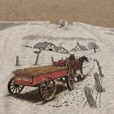 VTG Horses Farmland New England Hay Rides Crewneck Sweatshirt Mens XL