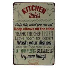 kitchen rules Metal Tin Sign  Decor Bar Pub Home Vintage Retro Poster