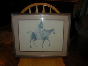 Carol Grigg Artist Signed Print Native Woman on Horse 1980's Watercolor Framed
