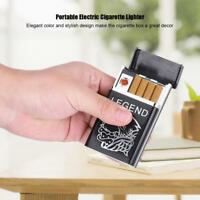 Portable Cigarette Case Electric Lighter USB Rechargeable Flameless Windproof DR