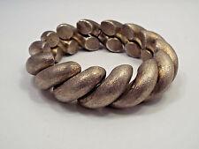 "Vintage Prata 900 Silver Textured Modern Hollow Wide Twist Link Bracelet, 7 1/2"""