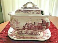 VINTAGE RED TRANSFERWARE CASTLE  SOUP TUREEN 3PC SERVING WITH DRIP PLATE & LID