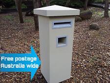 LETTERBOX MAIL BOX MAILBOX POST POWDER COATED EVENING HAZE PIER PEDESTAL SAND