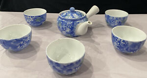 White/Blue/Yellow Floral Japanese Kyusu Teapot & strainer & 5 matching cups