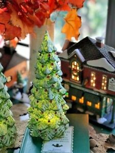 "Light Up LED Glass Glowing Glitter Snow Covered Christmas Tree 8"" NIB Pier 1"