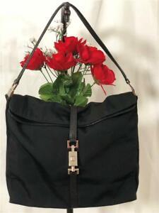 GUCCI Jackie Black Nylon Leather Trimmed Silver Hardware Sm Hobo/ Shoulder Bag