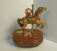 "Ceramic 6.5"" tall Wind Up Music Box Willitts Designs Elves on Carousel."