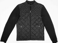 HUGO BOSS Mens Black Quilted Puffer Jacket  Zip Pockets Elbow Patches Sz S