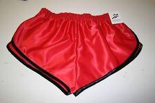 nailon Satén Sprinter Pantalones Cortos Rojo con ribete negro, Pequeña a Xxxxl
