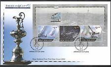New Zealand (NZ) 2002 Sailing/America's Cup/Yachts/Boats/Sports 3v m/s FDC s1953