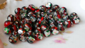 Vintage Glass Beads, Ruby Foil Beads, Givre Round 7mm Silver CZECH NOS #629