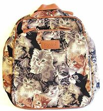"Tapestry Signare Backpack ""Cats & Kittens"" New Large Cat Design Bag"