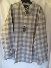 NWT Men's Claiborne Black,Gray Checkered Long Sleeve Casual Shirt Size 4XL