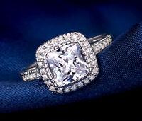 Engagement Ring 2.25 Ct D/VVS1 Cushion Cut Diamond Solitaire Halo 14k White Gold