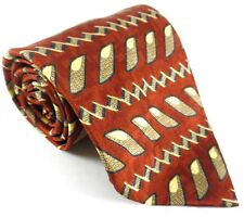 Andhurst Necktie Tie Silk Red Black Cream Geometric Pattern Long