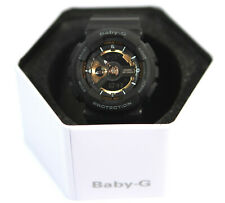 bcdee8fd02be New Casio BA110 Women's Baby-G Black & Gold Dial Black Resin Strap Alarm  Watch