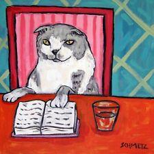 Scottish fold cat folk art print on ceramic Tile coaster gift Jschmetz library