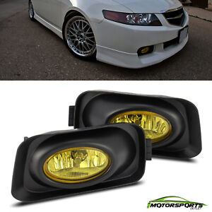 For 2003-2006 Acura TSX Yellow Lens Fog Lights Driver Passenger Driving Lamps