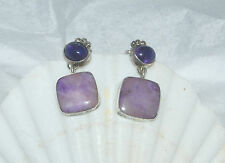 PAIR - STERLING SILVER, SUGILITE AND AMETHYST EARRINGS - 013E