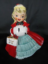 Vintage 1956 Napco Christmas Caroler Girl Planter Holding Purse & Muff AX1690PA