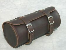 Genuine Leather Bicycle brown Saddle tool Bag Utility Round Mountain Tool kit