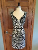Antonio Melani Sheath Dress Sz 10 Black White Floral Career