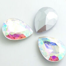 Hot 5pcs Faceted Crystal Glass rhinestones Silver Bottom Teardrop beads 20x30mm