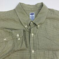 Old Navy Button Up Shirt Men's Size 2XL XXL Long Sleeve Green White Cotton