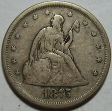 = 1875-S VF+ TWENTY Cent PIECE, Nice EYE Appeal, FREE SHIPPING