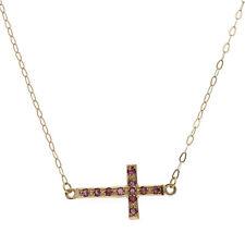 Halskette mit Anhänger Kreuz Gelbgold 18k und Rubine