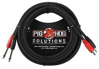 Pig Hog  Dual RCA Male to 1/4 Mono Male Cable 10' 0r 15'
