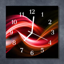 Glass Wall Clock Kitchen Clocks 30x30 cm silent Abstract Lines Red Black