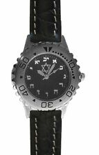 Hebrew Numbers Small Brushed Chrome Sport Watch Has Black Croc Grain Strap