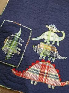 """Pottery Barn Kids Crib Quilt (36""""x50"""") & Sham Madras Plaid Dinosaurs blue Set"""