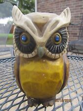 "Vintage 5"" Ceramic Owl Piggy Bank w/ Rhinestone Eyes"
