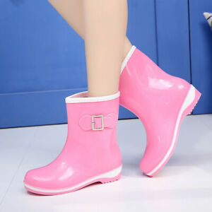 Women Bow Waterproof Rubber PVC Anti-Slip Work Garden Mid-Calf Rain Boots Shoes