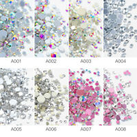 1440pcs Colorful Flat Back Nail Art Rhinestones Glitter Gems 3D Tips DIY Decor