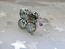 Antique Russian Style engagement 925 Sterling Silver 3.10Ct Green DIAMOND RING