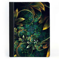 Glamour Floral Nature Creative Pattern Green Gold Leaf Tablet Leather Case Cover