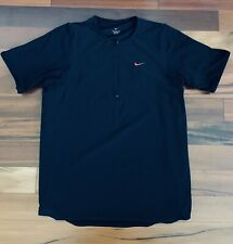 Nike Quarter Zip Dri Fit Short Sleeve T Shirt Tee Black Xl