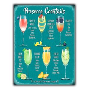 PROSECCO COCKTAIL RECIPES A5 METAL SIGN PLAQUE print Bar Cafe Kitchen Restaurant