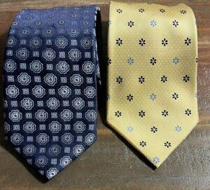 2 Vintage Tommy Hilfiger Silk Ties Yellow Blue Flower Geometric Pattern Tie